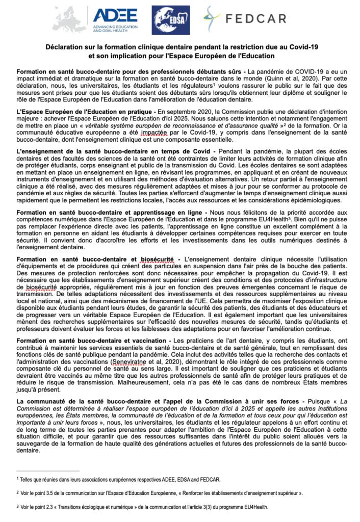Copie de la déclaration commune signée par l'ADEE, l'EDSA et la FEDCAR.
